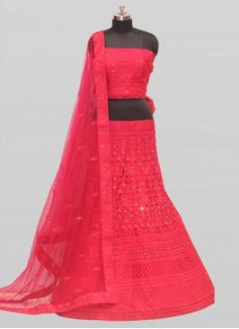 Stylish Net Pink Lehenga Bridal