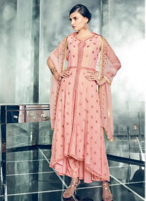 Stylish Peach Embroidered Floor Length Anarkali Suit