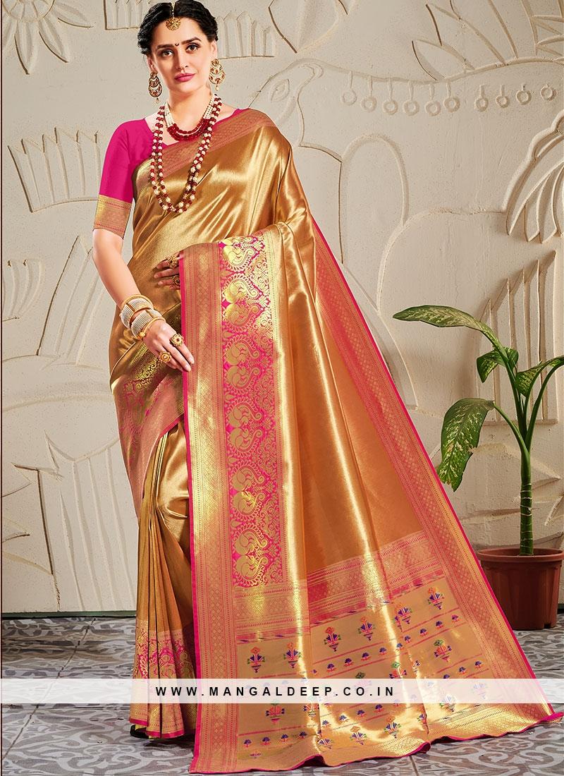 Stylish Saree Banarasi Silk In Pink Color