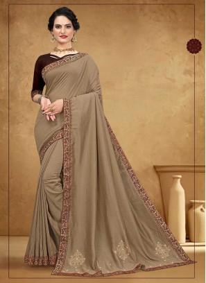 Stylish Silk Brown Saree