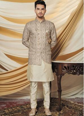 Stylish Silk Jacquard Jacket with Kurta Set