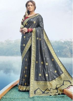 Stylish Silk Saree In Grey Color