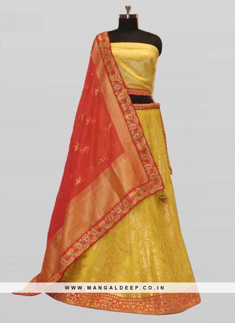 Stylish Silk Woven Work Yellow Lehenga