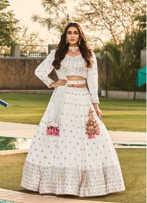 Stylish White Color Party Wear Lehenga