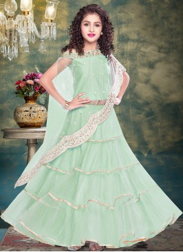Superb Green Color Designer Dress For Kids