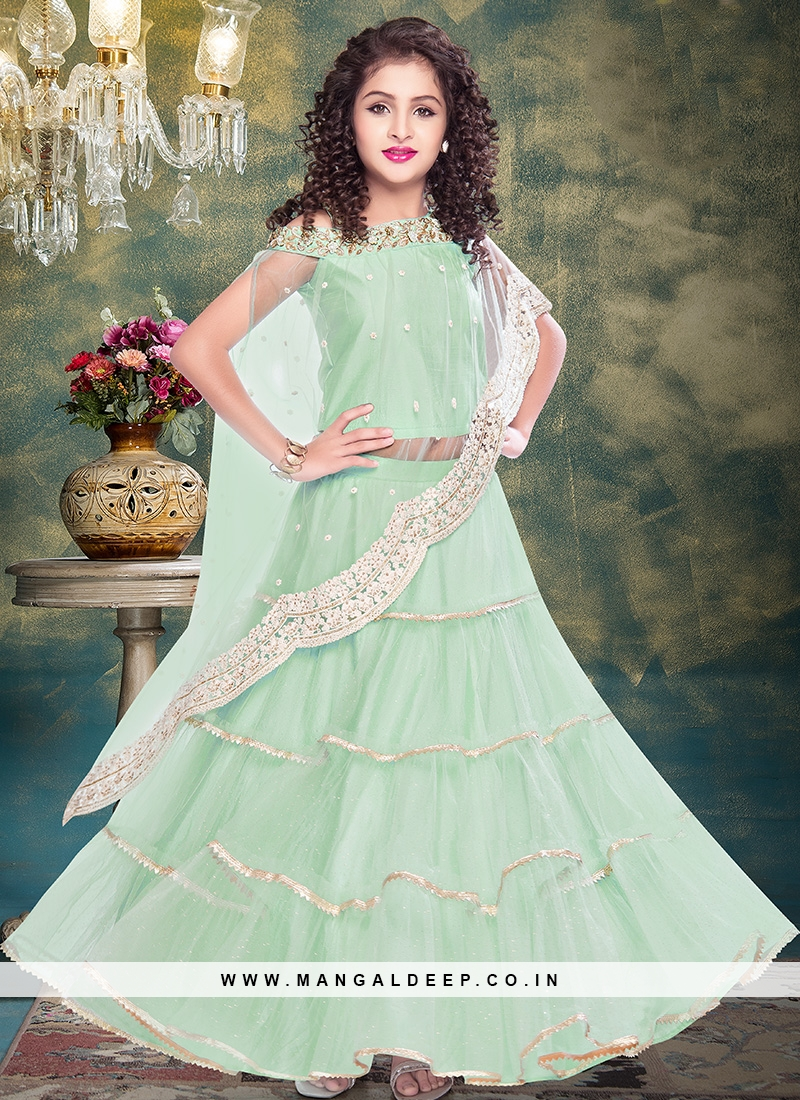 Superb Green Color Designer Dress For Kids