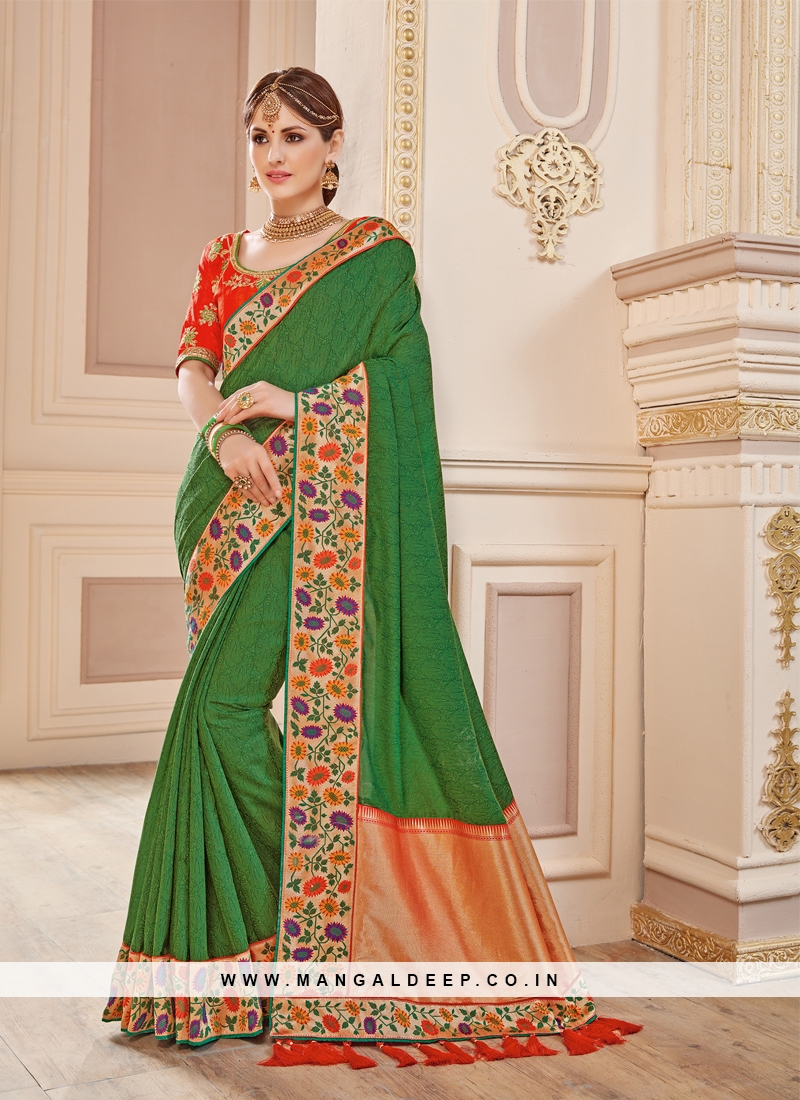 Stylish Green Embroidered Traditional Saree