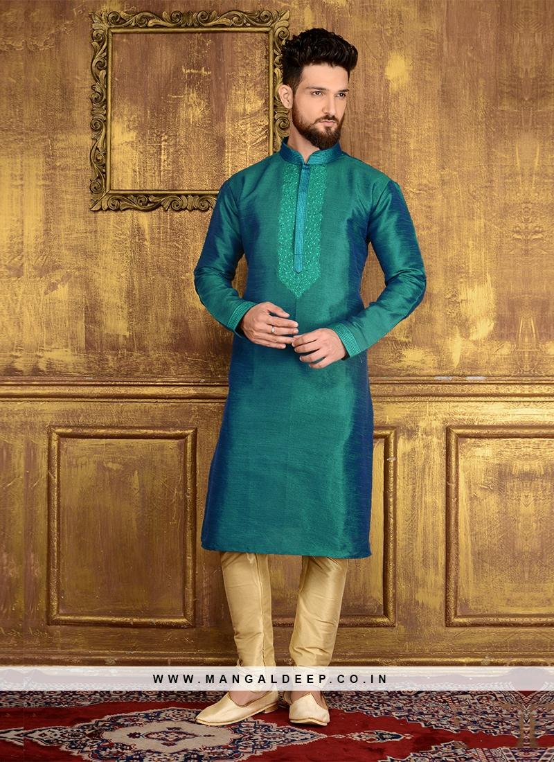 Teal Blue Art Banarasi Silk Kurta Pajama