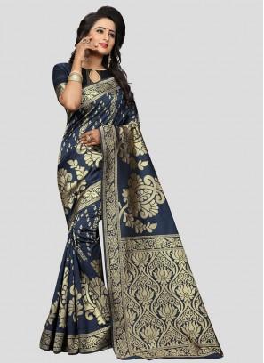 Teal Blue Color Banarasi Silk Saree