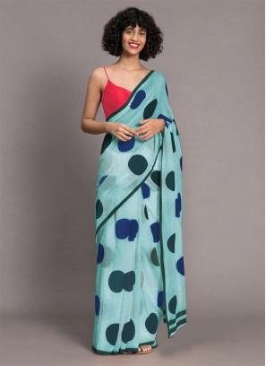 Teal Blue Color Digital Printed Saree