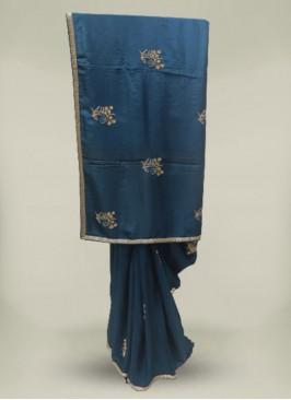 Teal Blue Color Dolla Silk Party Wear Saree