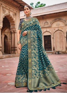 Teal Blue Color Dolla Silk Saree For Women