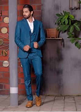 Teal Blue Color Mens Suit