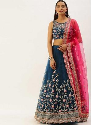 Teal Blue Color Net Floral Design Lehenga