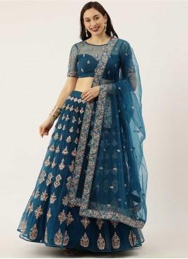Teal Blue Color Net Stylish Lehenga