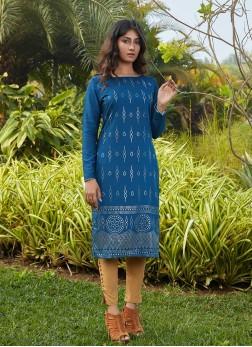 Teal Blue Color Silk Cotton Kurti