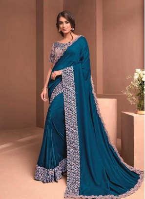 Teal Blue Color Silk Georgette Saree