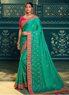 Teal Color Chiffon Embroidered Saree