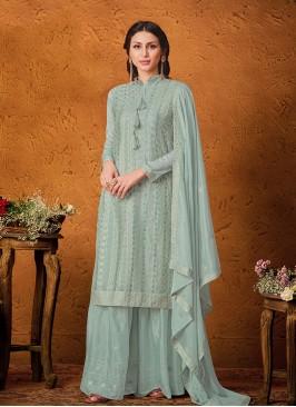 Teal Color Chinon Pakistani Salwar Kameez