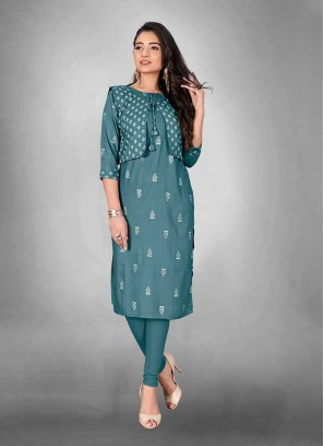 Teal Color Cotton Kurti With Jacket