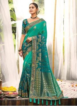 Teal Color Dola Silk Saree For Ladies