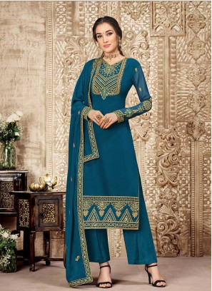 Teal Color Embroidered Salwar Suit