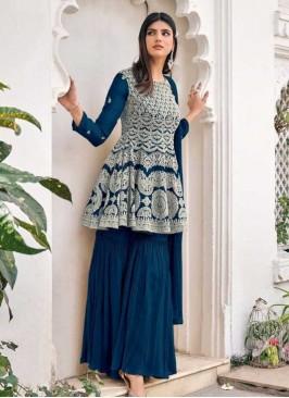 Teal Color Embroidered Sharara Dress