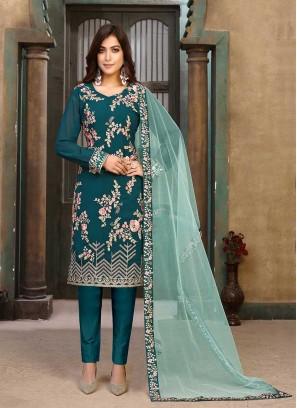 Teal Color Georgette Embroidered Salwar Suit