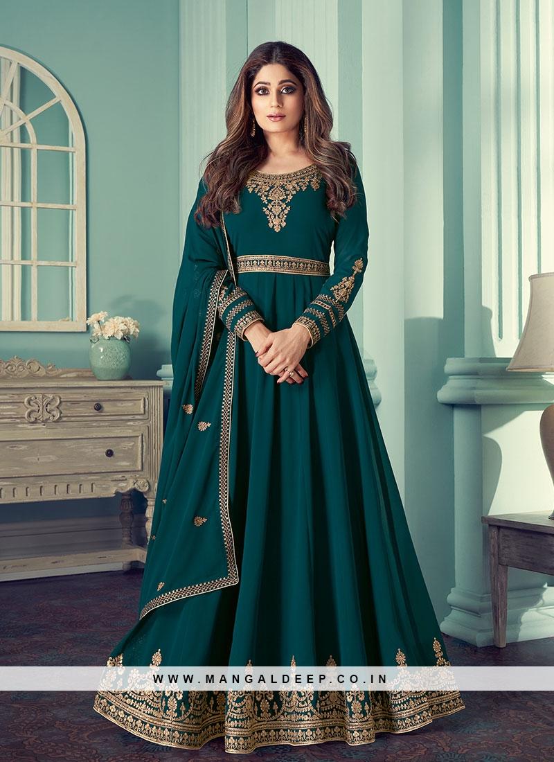 Teal Color Georgette Long Anarkali Suit