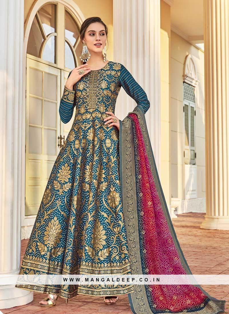 Teal Color Jacquard Anarkali Suit