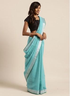 Teal Color Linen Silk Fancy Saree