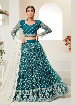 Teal Color Net Festive Wear Lehenga Choli