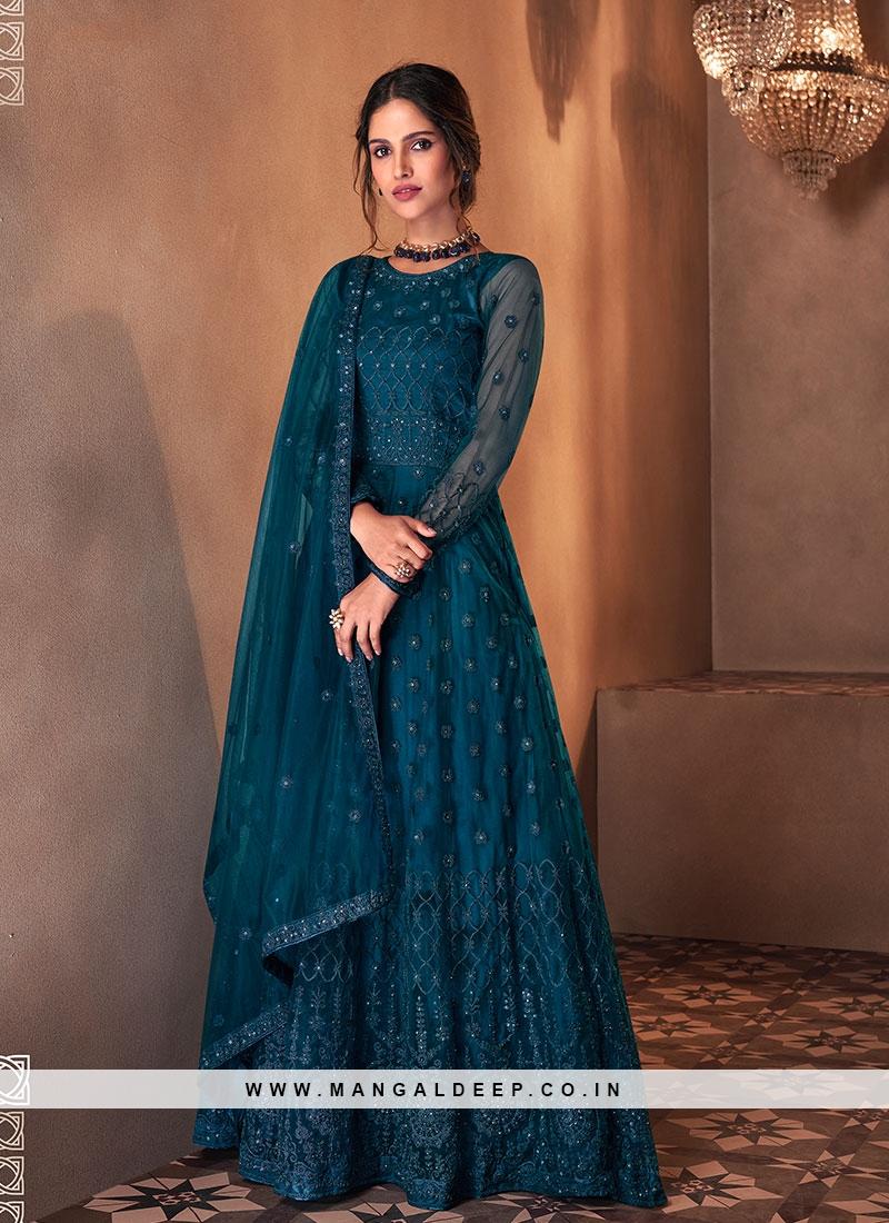 Teal Color Net Long Dresses For Women