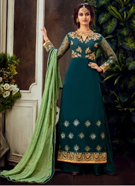 Teal Color Pure Georgette Palaazzo Suit