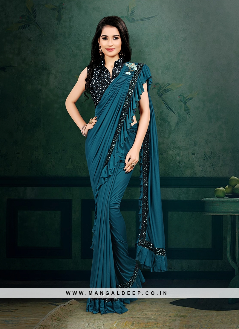 Teal Color Ready To Wear Saree