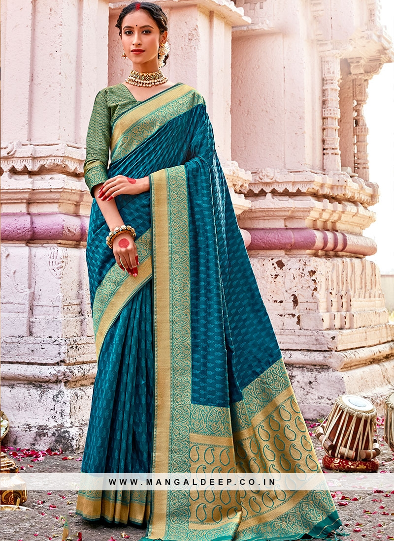 Teal Color Saree In Silk