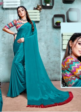 Teal Color Saree With Printed Blouse