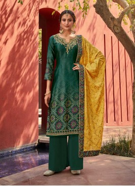 Teal Color Satin New Design Salwar Suit