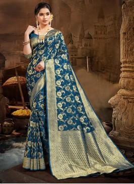 Teal Color Silk Latest Design Saree