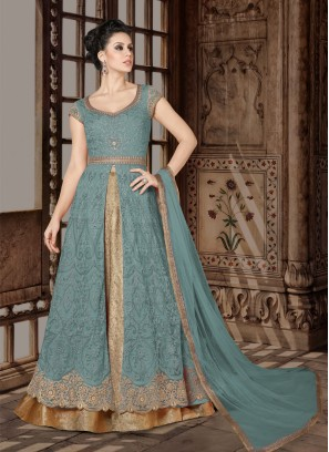 Teal designer Floor length anarkali Suit