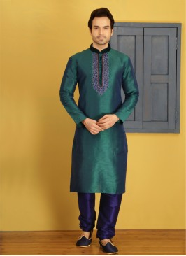 Teal Embroidered Kurta Pajama