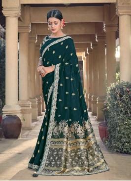 Teal Green Color Silk Latest Saree