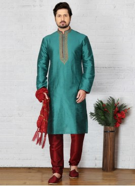 Teal Kurta Pajama For Sangeet Function