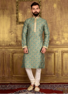 Teal Kurta Pajama For Wedding