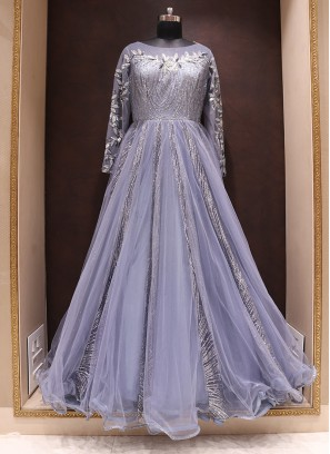 Tempting Blue Color Function Wear Net Gown