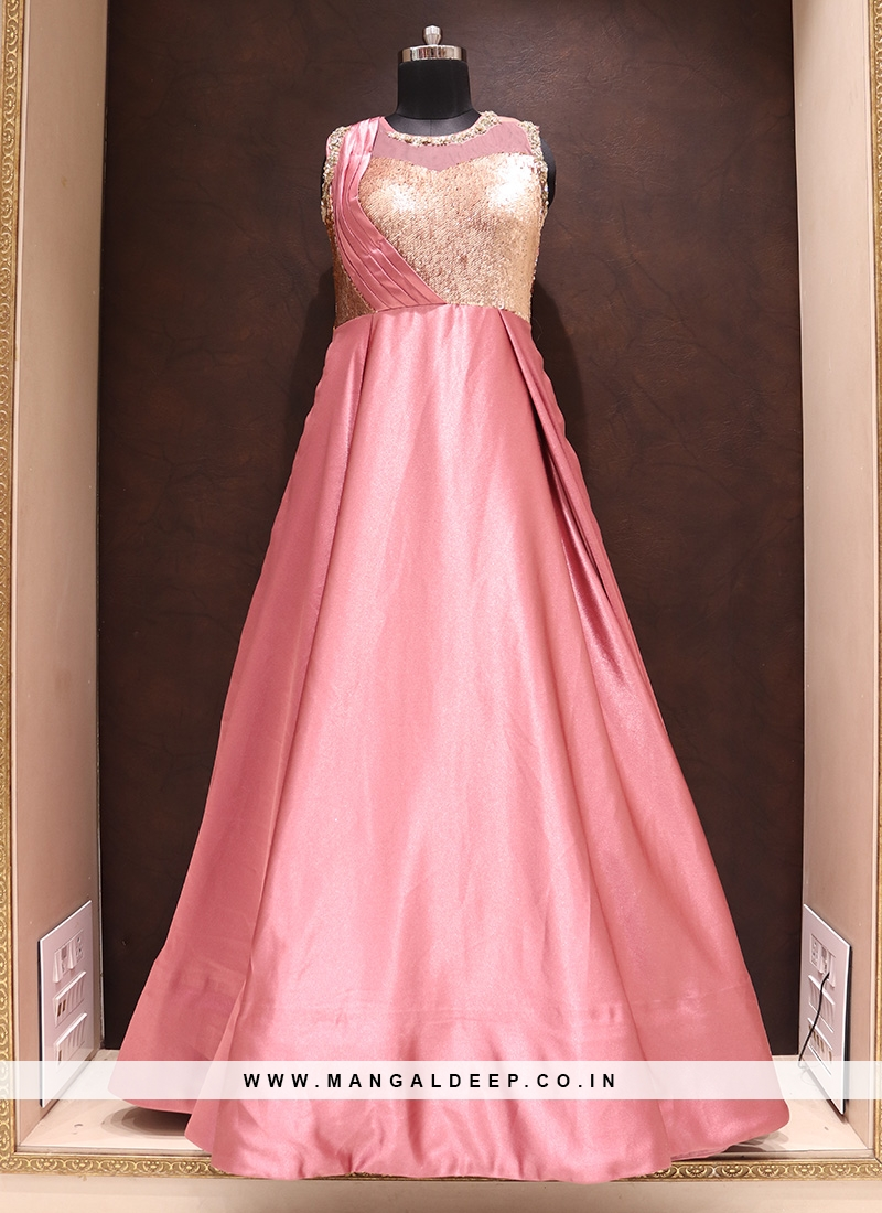 Tempting Pink Color Function Wear Silk Gown
