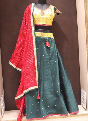 Tempting Teal Color Function Wear Silk Lehenga Choli