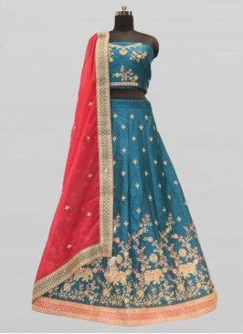 Turquoise Color Elephant Design Chaniya Choli For Wedding