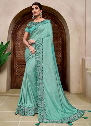 Turquoise Color Fancy Saree For Wedding