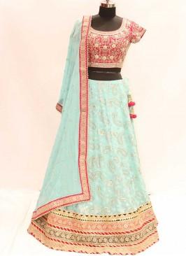 Turquoise Color Georgette Festive Wear Lehenga